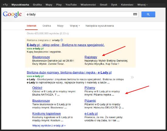 rozszerzenia w wynikach wyszukiwania e-lady