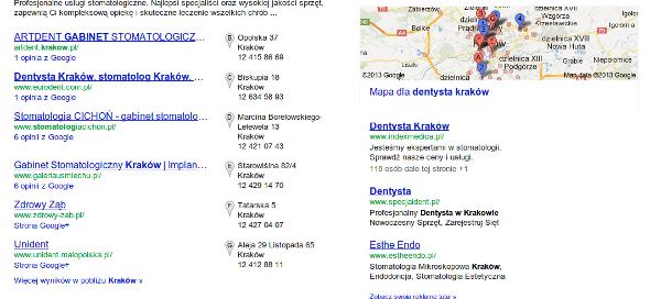wyniki wyszukiwania - dentysta w Google Maps