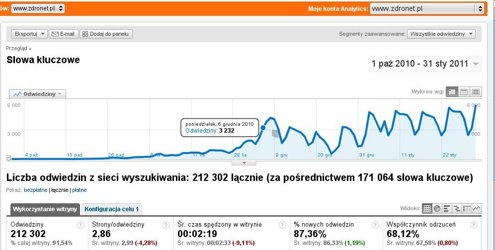 wykres liczby odwiedzin - www.zdronet.pl