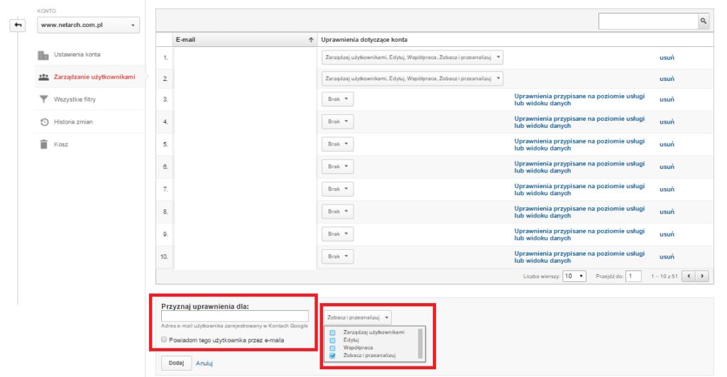 panel Google Analytics dodanie użytkownika