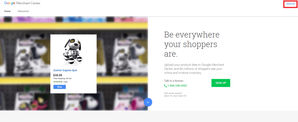 Nadanie dostępu do Google Merchant Center krok 1