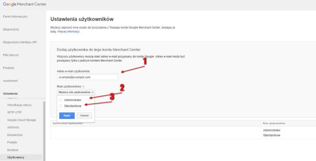 Nadanie dostępu do Google Merchant Center krok 5