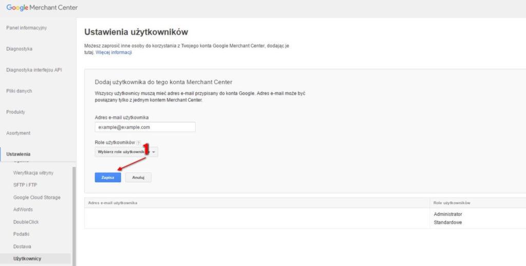 Nadanie dostępu do Google Merchant Center krok 6