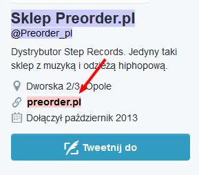link w profilu na Twitterze