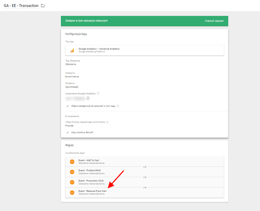 Google Tag Manager, konfiguracja tagu EE - Transaction
