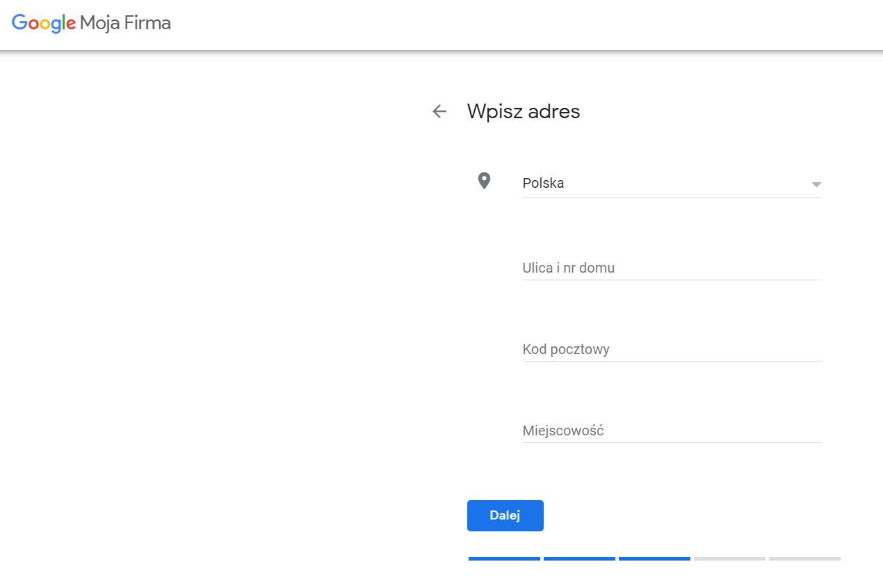 dodawanie danych adresowych w wizytówce Google