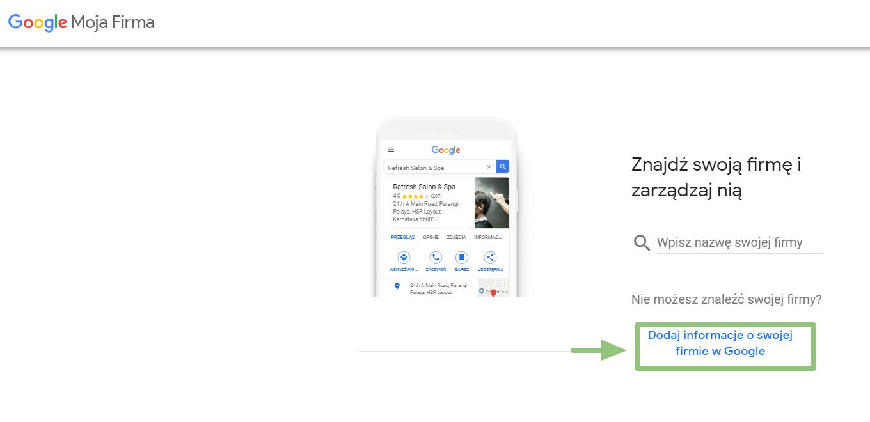 dodawanie informacji o swojej firmie w google moja firma