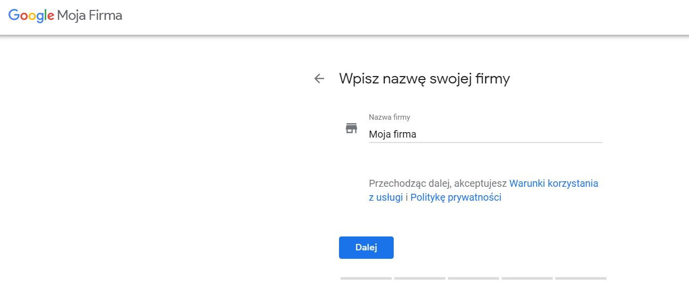 podawanie nazwy firmy dla wizytówki google