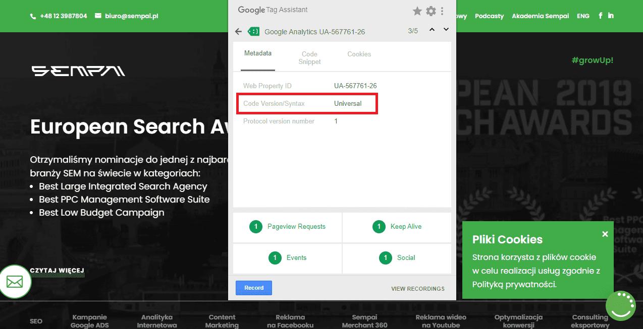 google tag assistant wersja kodu 2
