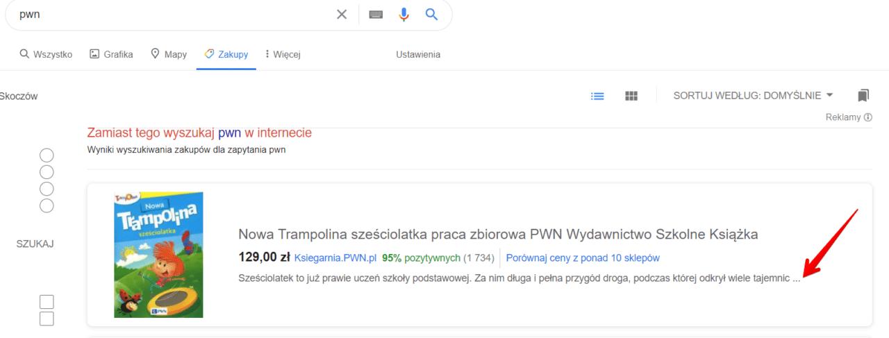 opis produktu feed produktowy google ads