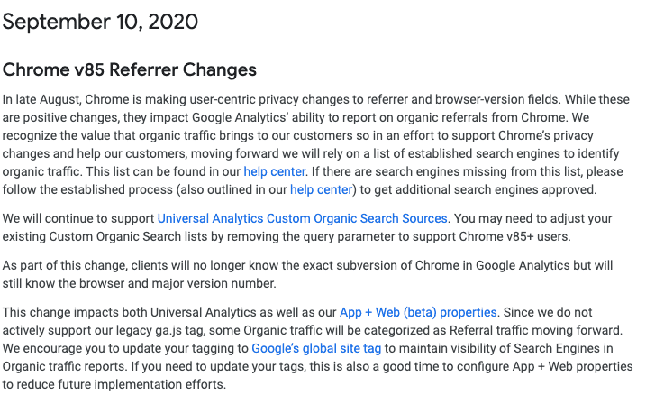 update chrome google analytics