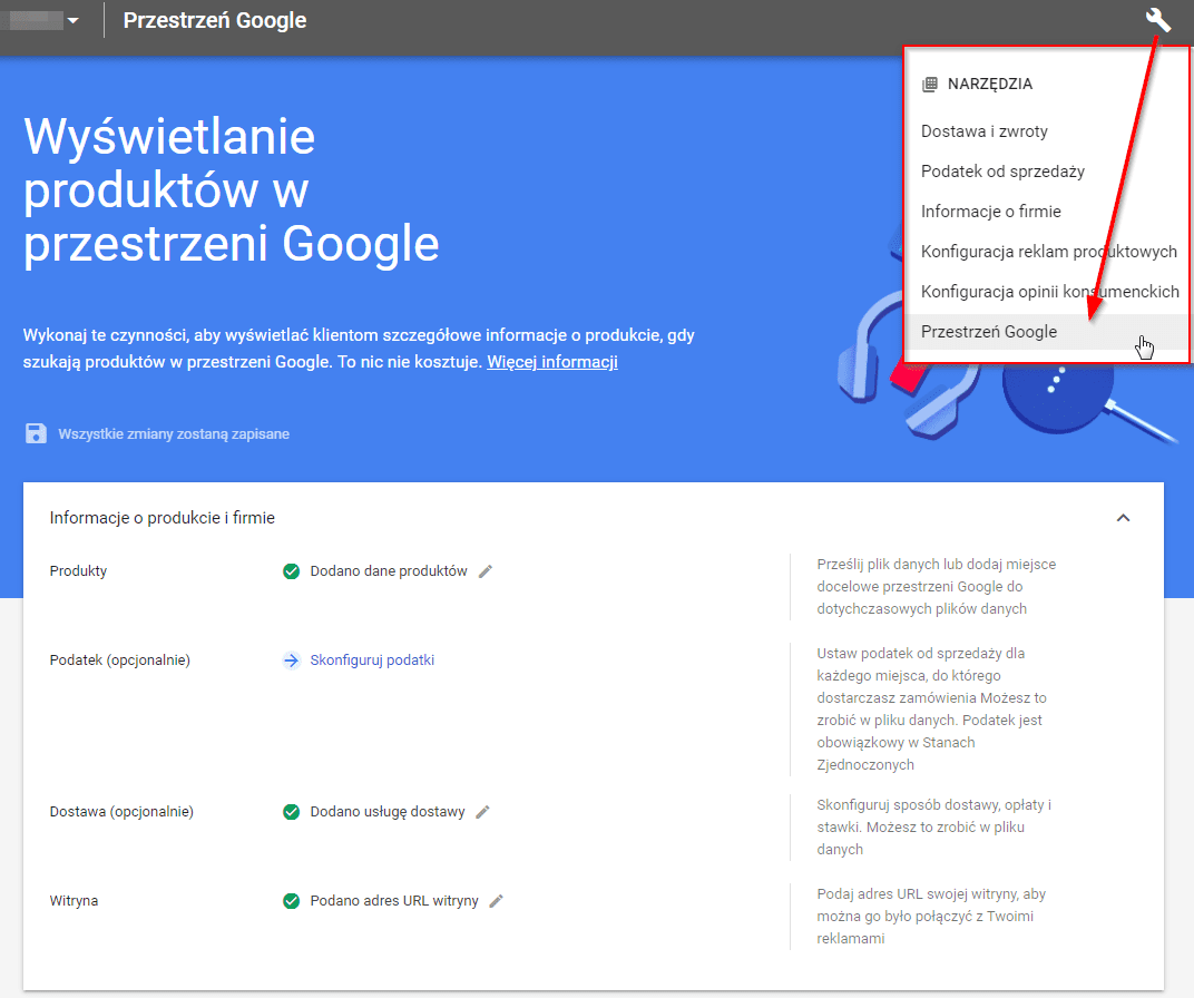 checklista zakupy google