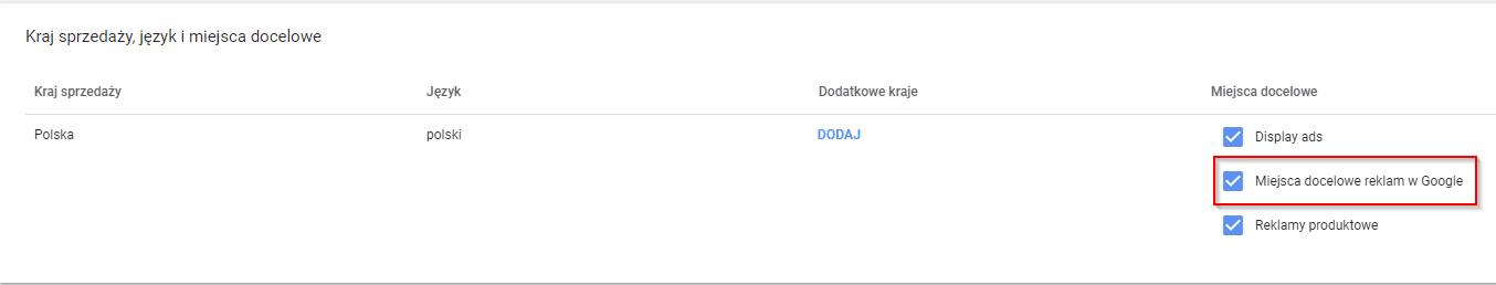 konfiguracja przesteni google