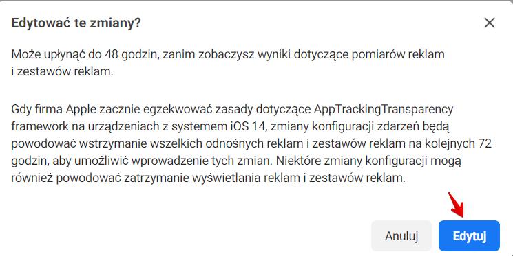 iOS 14 konfiguracja zdarzeń webowych 3