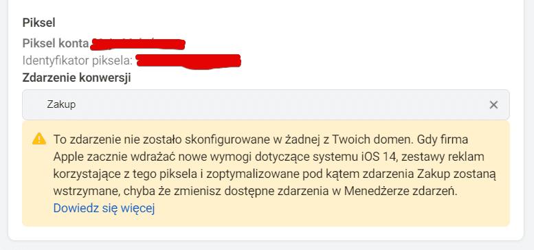 iOS 14 konfiguracja zdarzeń webowych