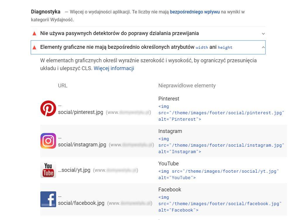 PageSpeed Insights diagnostyka