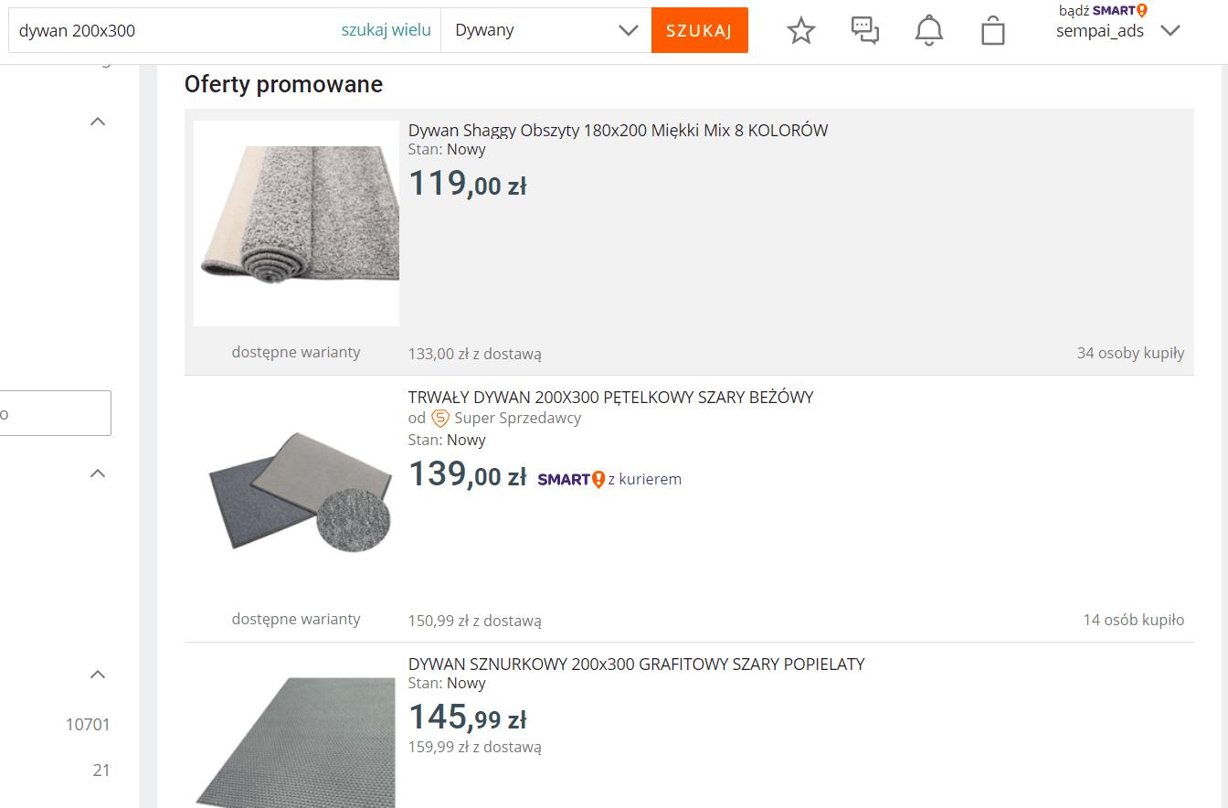 Allegro - listing dywanu po cenie