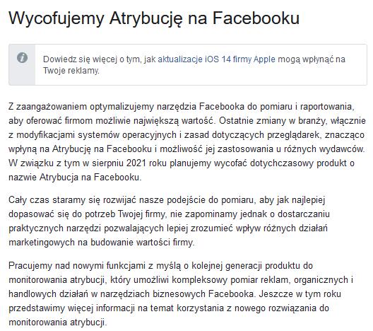Analityka od Facebooka - nadchodzą duże zmiany - atrybucja