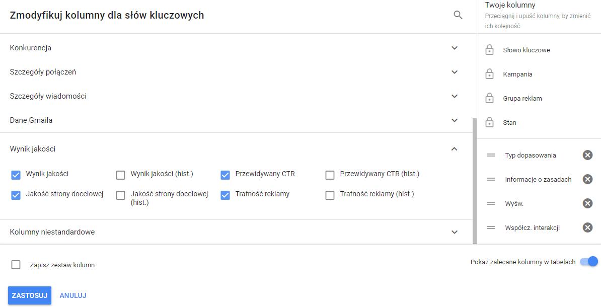 Od czego zależy pozycja reklamy w Google - wynik jakości kolumny