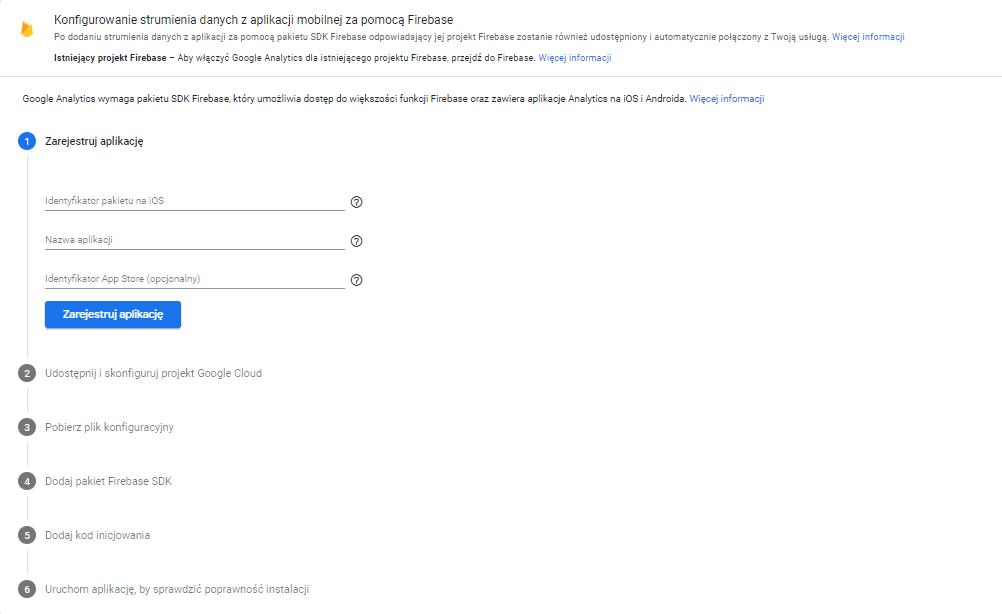 Połączenie Google Analytics z Firebase