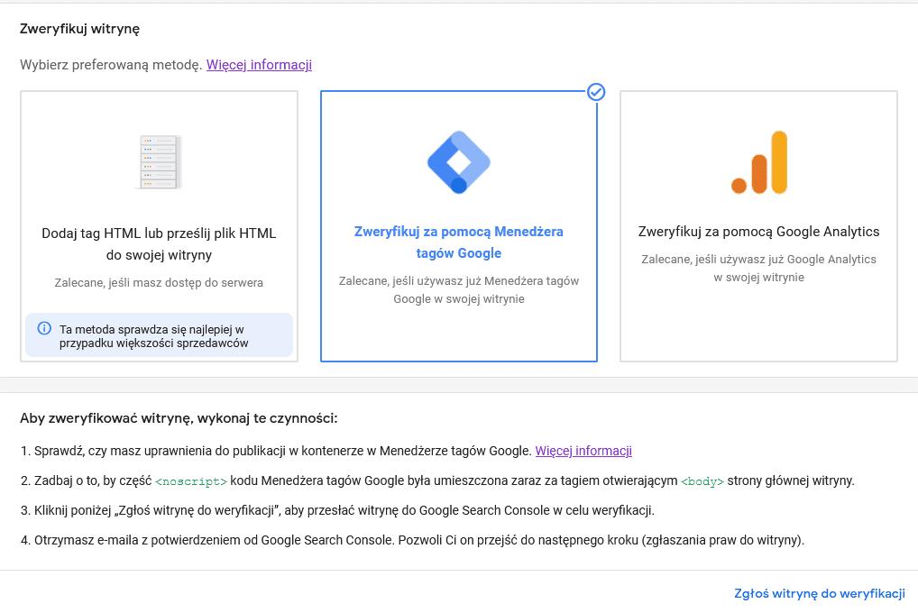 weryfikacja witryny Google Merchant Center